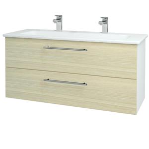Dřevojas - Koupelnová skříň GIO SZZ2 120 - N01 Bílá lesk / Úchytka T02 / D04 Dub (129927BU)