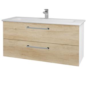 Dřevojas - Koupelnová skříň GIO SZZ2 120 - N01 Bílá lesk / Úchytka T03 / D15 Nebraska (173777C)