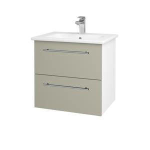 Dřevojas - Koupelnová skříň GIO SZZ2 60 - N01 Bílá lesk / Úchytka T02 / M05 Béžová mat (202057B)