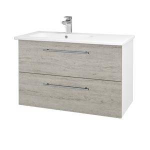 Dřevojas - Koupelnová skříň GIO SZZ2 90 - N01 Bílá lesk / Úchytka T02 / D05 Oregon (202521B)