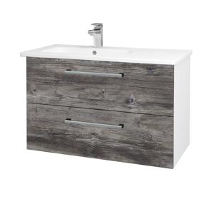 Dřevojas - Koupelnová skříň GIO SZZ2 90 - N01 Bílá lesk / Úchytka T03 / D10 Borovice Jackson (202569C)