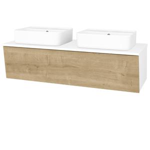 Dřevojas - Koupelnová skříň INVENCE SZZ 125 (2 umyvadla Joy 2) - N01 Bílá lesk / D09 Arlington (185541)