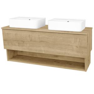 Dřevojas - Koupelnová skříň INVENCE SZZO 125 (2 umyvadla Joy 2) - D09 Arlington / D09 Arlington (185077)