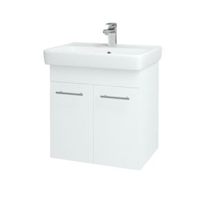 Dřevojas - Koupelnová skříň Q DVEŘOVÉ SZD2 60 - N01 Bílá lesk / Úchytka T02 / L01 Bílá vysoký lesk (12734B)