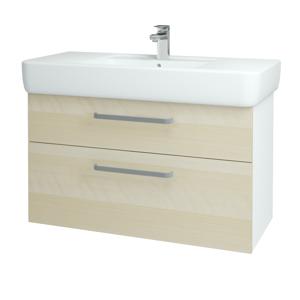 Dřevojas - Koupelnová skříň Q MAX SZZ2 100 - N01 Bílá lesk / Úchytka T01 / D02 Bříza (131807A)
