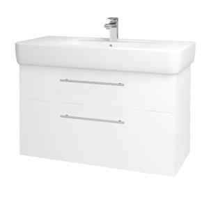 Dřevojas - Koupelnová skříň Q MAX SZZ2 100 - N01 Bílá lesk / Úchytka T02 / M01 Bílá mat (198824B)