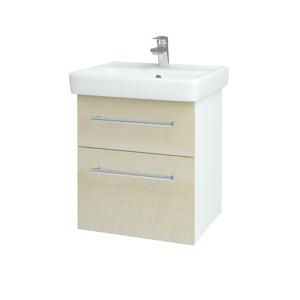 Dřevojas - Koupelnová skříň Q MAX SZZ2 55 - N01 Bílá lesk / Úchytka T03 / D02 Bříza (61138C)