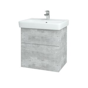 Dřevojas - Koupelnová skříň Q MAX SZZ2 60 - D01 Beton / Úchytka T02 / D01 Beton (67529B)
