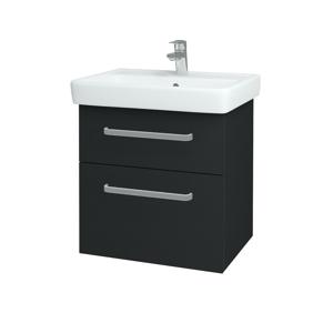 Dřevojas - Koupelnová skříň Q MAX SZZ2 60 - L03 Antracit vysoký lesk / Úchytka T01 / L03 Antracit vysoký lesk (60377A)