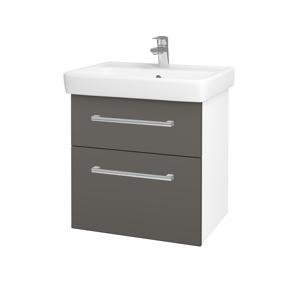 Dřevojas - Koupelnová skříň Q MAX SZZ2 60 - N01 Bílá lesk / Úchytka T03 / N06 Lava (198237C)