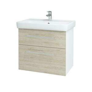 Dřevojas - Koupelnová skříň Q MAX SZZ2 70 - N01 Bílá lesk / Úchytka T02 / D05 Oregon (61732B)