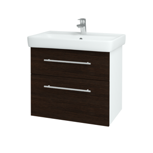 Dřevojas - Koupelnová skříň Q MAX SZZ2 70 - N01 Bílá lesk / Úchytka T02 / D08 Wenge (60063B)