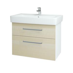 Dřevojas - Koupelnová skříň Q MAX SZZ2 80 - N01 Bílá lesk / Úchytka T01 / D02 Bříza (60087A)
