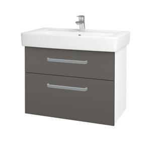 Dřevojas - Koupelnová skříň Q MAX SZZ2 80 - N01 Bílá lesk / Úchytka T01 / N06 Lava (198664A)