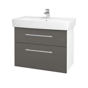 Dřevojas - Koupelnová skříň Q MAX SZZ2 80 - N01 Bílá lesk / Úchytka T02 / N06 Lava (198664B)