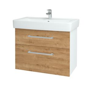 Dřevojas - Koupelnová skříň Q MAX SZZ2 80 - N01 Bílá lesk / Úchytka T03 / D09 Arlington (115562C)