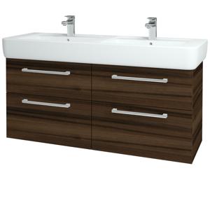 Dřevojas - Koupelnová skříň Q MAX SZZ4 130 - D06 Ořech / Úchytka T03 / D06 Ořech (132125C)