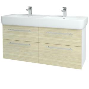 Dřevojas - Koupelnová skříň Q MAX SZZ4 130 - N01 Bílá lesk / Úchytka T02 / D04 Dub (131890B)