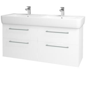 Dřevojas - Koupelnová skříň Q MAX SZZ4 130 - N01 Bílá lesk / Úchytka T03 / M01 Bílá mat (199036C)