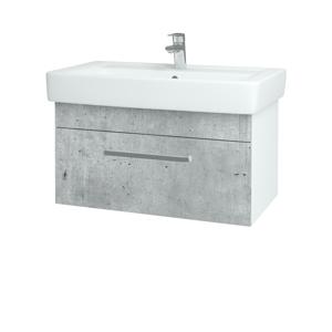 Dřevojas - Koupelnová skříň Q UNO SZZ 80 - N01 Bílá lesk / Úchytka T01 / M05 Béžová mat (208950A)