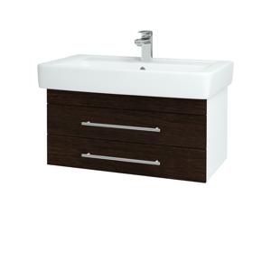 Dřevojas - Koupelnová skříň Q ZÁSUVKOVÉ SZZ2 80 - N01 Bílá lesk / Úchytka T01 / D08 Wenge (20203A)