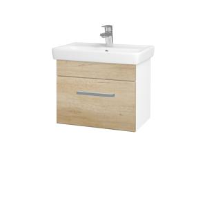 Dřevojas - Koupelnová skříň SOLO SZZ 55 - N01 Bílá lesk / Úchytka T01 / D15 Nebraska (205515A)