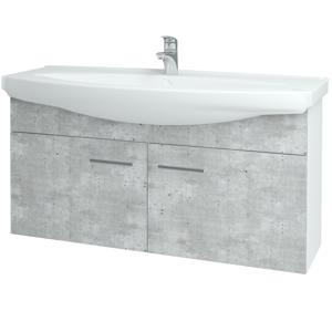 Dřevojas - Koupelnová skříň TAKE IT SZD2 120 - N01 Bílá lesk / Úchytka T03 / D01 Beton (152284C)