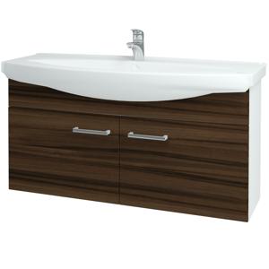 Dřevojas - Koupelnová skříň TAKE IT SZD2 120 - N01 Bílá lesk / Úchytka T03 / D06 Ořech (152338C)