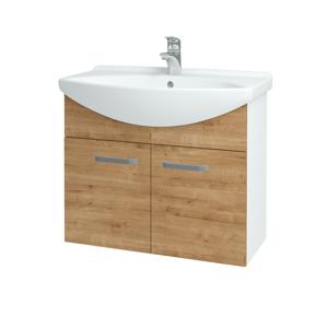 Dřevojas - Koupelnová skříň TAKE IT SZD2 75 - N01 Bílá lesk / Úchytka T01 / D09 Arlington (152086A)