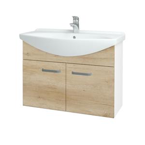 Dřevojas - Koupelnová skříň TAKE IT SZD2 85 - N01 Bílá lesk / Úchytka T01 / D15 Nebraska (206215A)