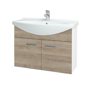 Dřevojas - Koupelnová skříň TAKE IT SZD2 85 - N01 Bílá lesk / Úchytka T01 / D17 Colorado (206239A)