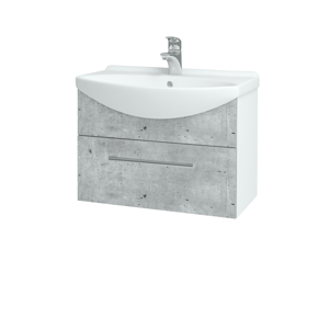 Dřevojas - Koupelnová skříň TAKE IT SZZ 65 - N01 Bílá lesk / Úchytka T03 / D01 Beton (152376C)