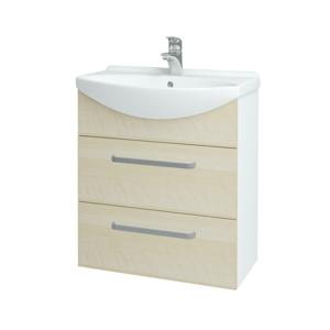 Dřevojas - Koupelnová skříň TAKE IT SZZ2 65 - N01 Bílá lesk / Úchytka T01 / D02 Bříza (152833A)
