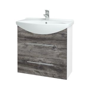 Dřevojas - Koupelnová skříň TAKE IT SZZ2 75 - N01 Bílá lesk / Úchytka T02 / D10 Borovice Jackson (207649B)