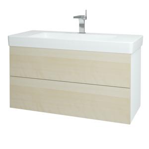 Dřevojas - Koupelnová skříň VARIANTE SZZ2 105 - N01 Bílá lesk / D02 Bříza (164645)