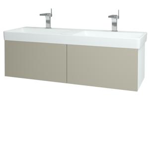 Dřevojas - Koupelnová skříň VARIANTE SZZ2 130 - N01 Bílá lesk / L04 Béžová vysoký lesk (165031)