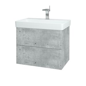 Dřevojas - Koupelnová skříň VARIANTE SZZ2 70 - D01 Beton / D01 Beton (163419)