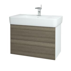 Dřevojas - Koupelnová skříň VARIANTE SZZ2 85 - N01 Bílá lesk / D03 Cafe (166298)