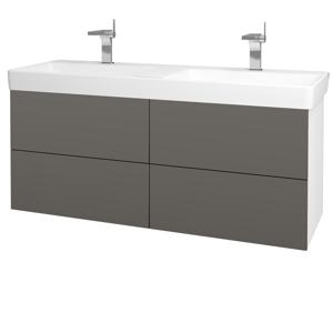 Dřevojas - Koupelnová skříň VARIANTE SZZ4 130 - N01 Bílá lesk / N06 Lava (196271)