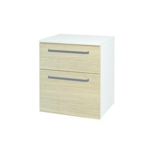 Dřevojas - Skříň spodní DOS SNZ2K 50 - N01 Bílá lesk / Úchytka T01 / D04 Dub (63231A)