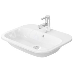 DURAVIT - Happy D.2 Umývadlo s prepadom, 600 mm x 460 mm, biele – trojotvorové umývadlo, s WonderGliss (04836000301)