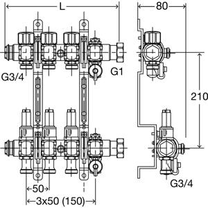 Fonterra rozdělovač 6 okruhů, kompletní s průtokoměry, Viega mod.1005 695996 (V 695996)