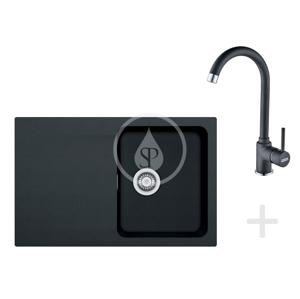 FRANKE FRANKE - Sety Kuchyňský set T30, tectonitový dřez OID 611-78, černá + baterie FP 9900, černá (114.0366.039)