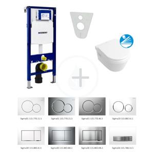 GEBERIT - Duofix Súprava na závesné WC + klozet a sedadlo softclose Villeroy & Boch – súprava s tlačidlom Sigma01, biele (111.300.00.5 NB1)