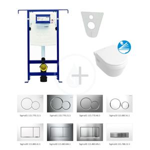 GEBERIT - Duofix Sada pro závěsné WC + klozet a sedátko softclose Villeroy & Boch - sada s tlačítkem Sigma30, bílá/lesklý chrom/bílá (111.355.00.5 NB5)