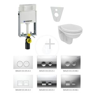 GEBERIT - Kombifix Modul pro závěsné WC s tlačítkem Delta50, matný chrom + Ideal Standard Quarzo - WC a sedátko (110.100.00.1 NR6)
