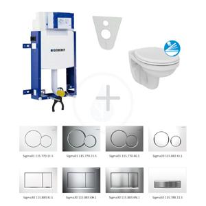 GEBERIT - Kombifix Modul pro závěsné WC s tlačítkem Sigma30, bílá/lesklý chrom + Ideal Standard Quarzo - WC a sedátko (110.302.00.5 ND5)