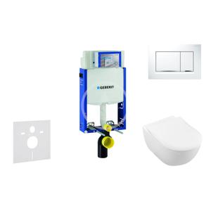 GEBERIT - Kombifix Modul na závesné WC s tlačidlom Sigma30, biela/lesklý chróm + Villeroy Boch - WC a doska, DirectFlush, SoftClose, CeramicPlus 110.302.00.5 NI5
