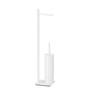 Gedy - TRILLY stojan s držákem na toaletní papír a WC štětkou, hranatý, bílá matná (TR3222)