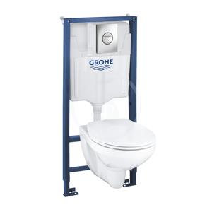 GROHE - Solido Súprava na závesné WC + klozet a sedadlo softclose Bau Ceramic, tlačidlo Sail, chróm (39499000)